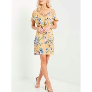 Mai Tai Yellow Open Shoulder Floral Dress